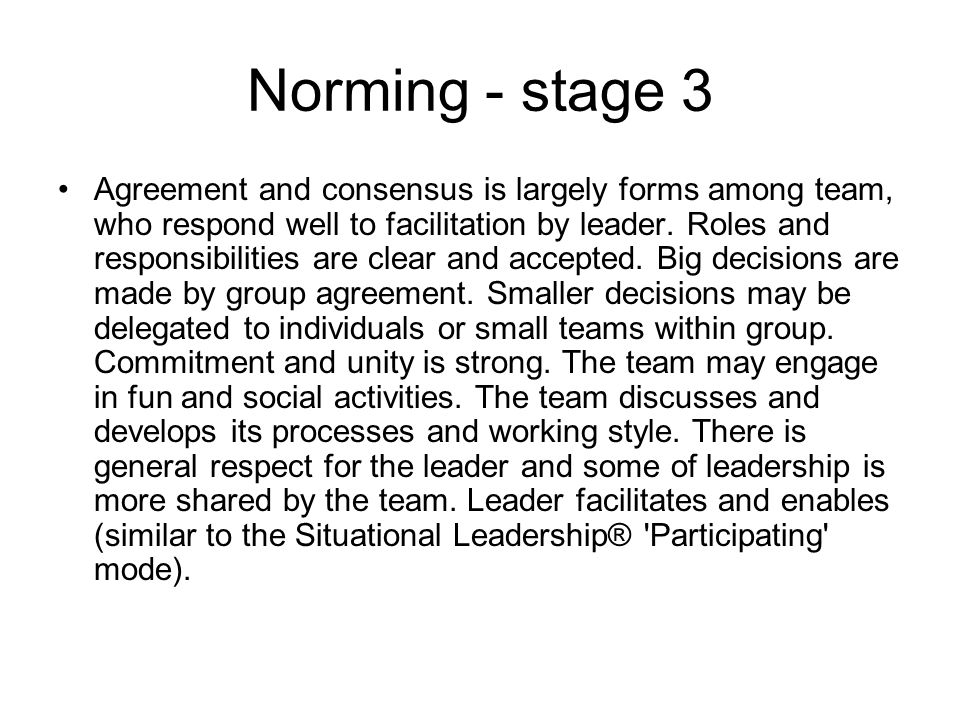 Performing - stage 4 The team is more strategically aware; the team knows clearly why it is doing what it is doing.
