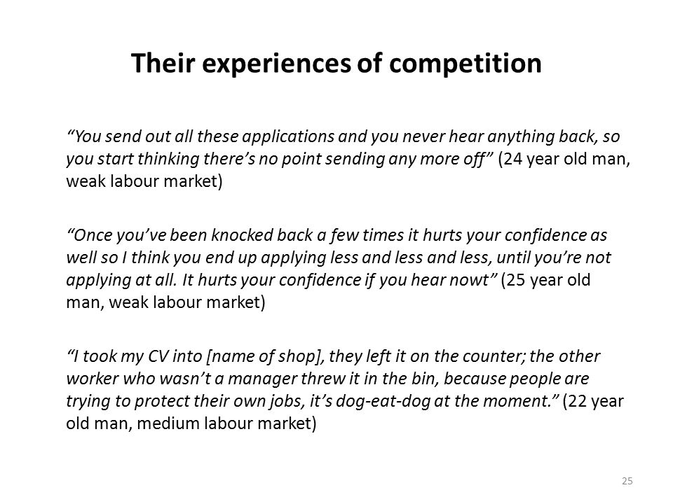 25 Their experiences of competition You send out all these applications and you never hear anything back, so you start thinking there's no point sending any more off (24 year old man, weak labour market) Once you've been knocked back a few times it hurts your confidence as well so I think you end up applying less and less and less, until you're not applying at all.