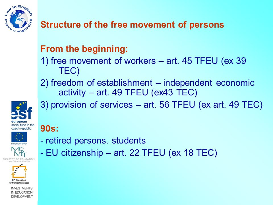 Structure of the free movement of persons From the beginning: 1) free movement of workers – art.
