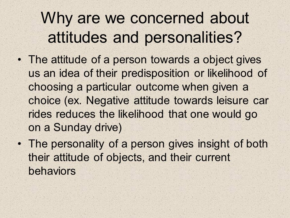 Study Question This study investigated the potential associations between personality and individual travel behavior characteristics Three dimensions of personality were examined: social introversion/extroversion, affinity for suburban living, and affinity for material possessions