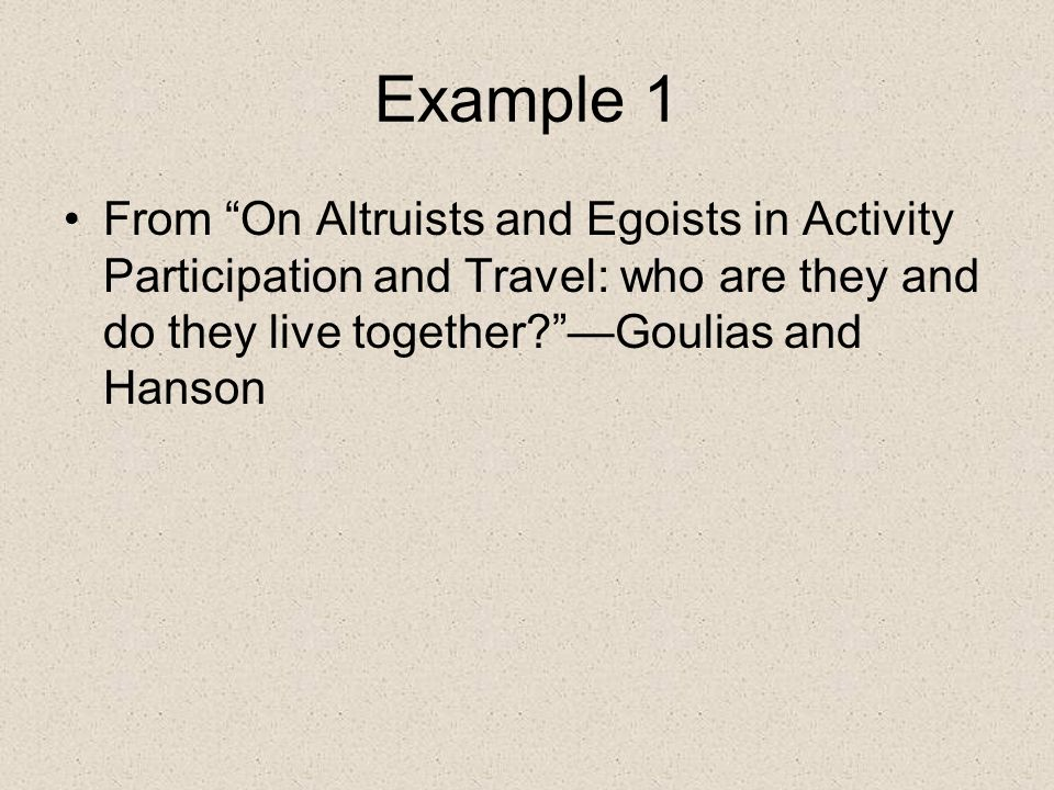 Study Question Is there a link to social role and patterns of altruistic behavior.