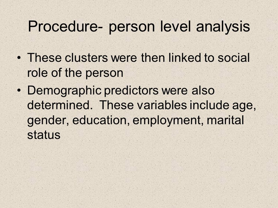Procedure- person level analysis These clusters were then linked to social role of the person Demographic predictors were also determined.