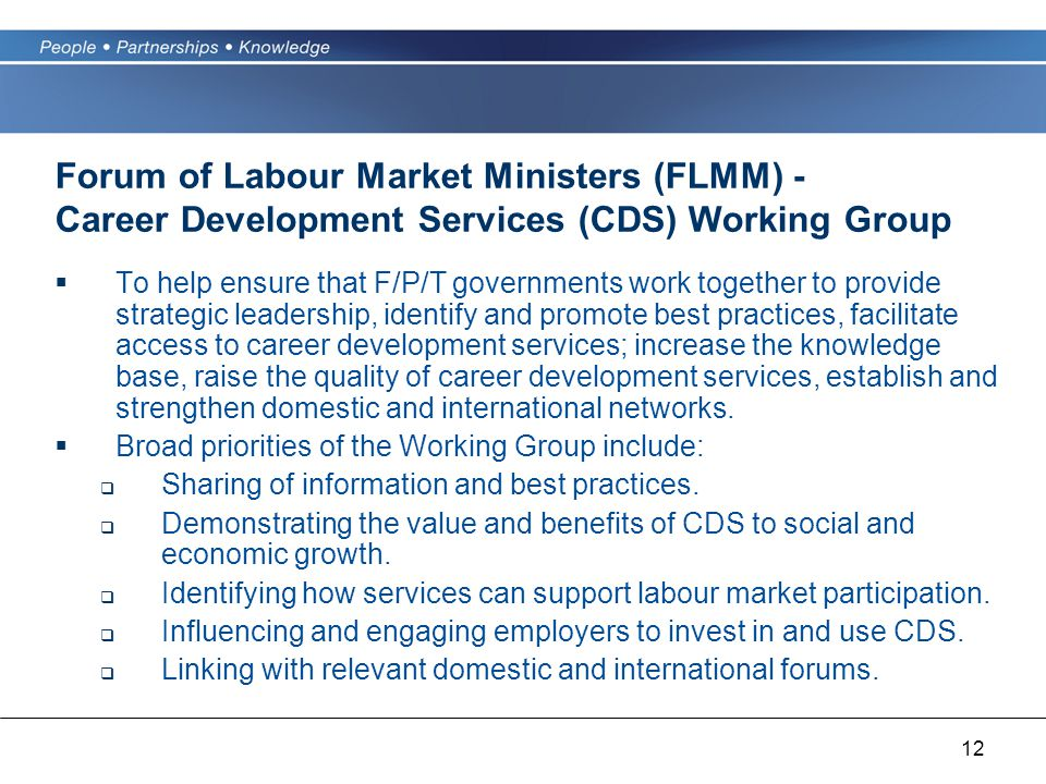 12 Forum of Labour Market Ministers (FLMM) - Career Development Services (CDS) Working Group  To help ensure that F/P/T governments work together to provide strategic leadership, identify and promote best practices, facilitate access to career development services; increase the knowledge base, raise the quality of career development services, establish and strengthen domestic and international networks.