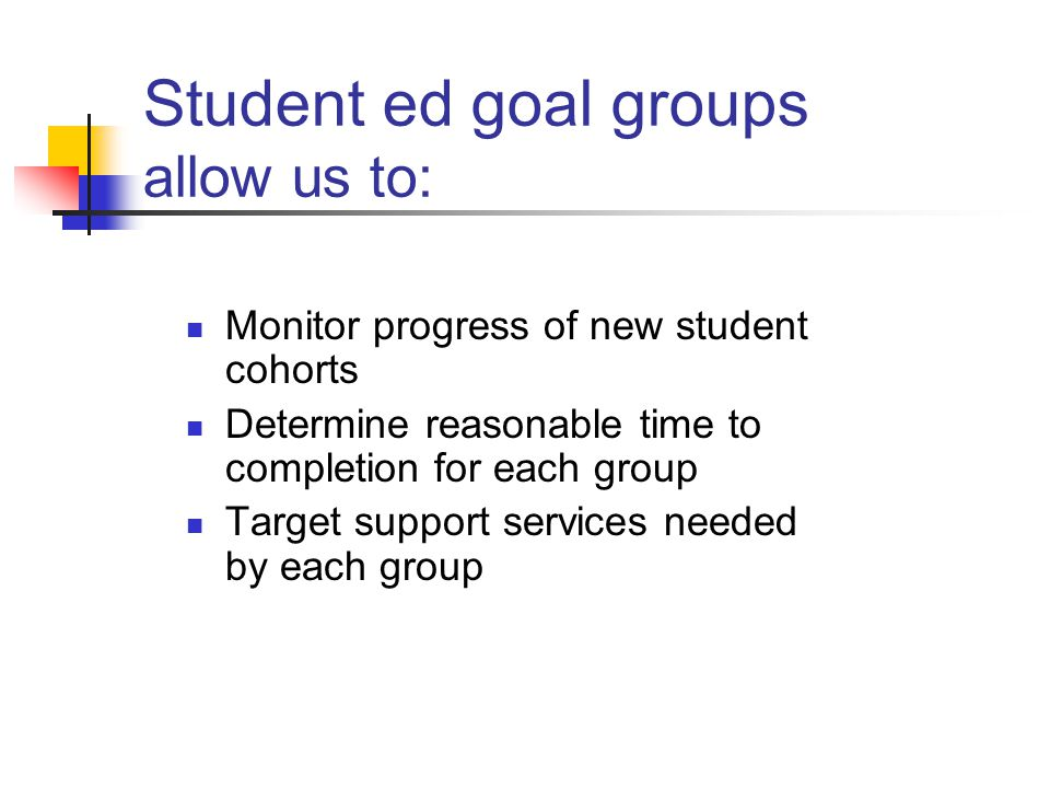 Student ed goal groups allow us to: Monitor progress of new student cohorts Determine reasonable time to completion for each group Target support serv