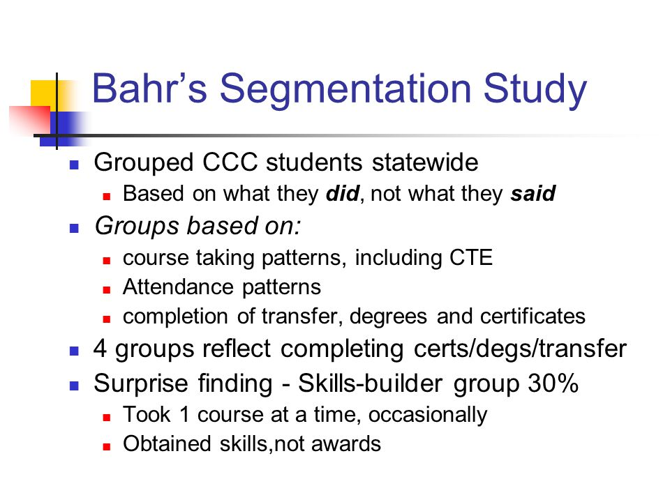 Bahr's Segmentation Study Grouped CCC students statewide Based on what they did, not what they said Groups based on: course taking patterns, including