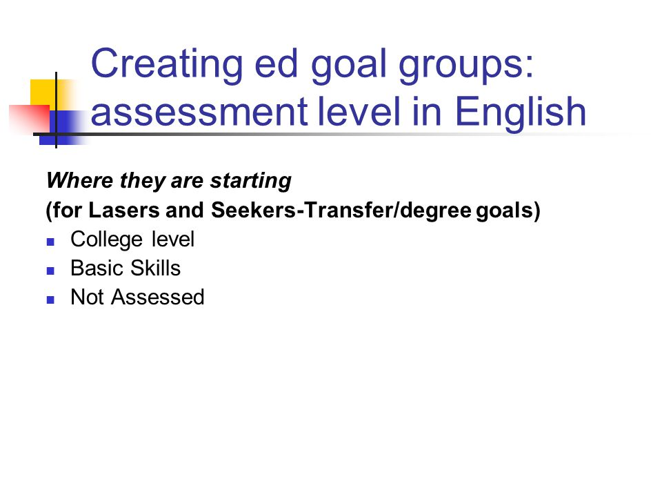 Creating ed goal groups: assessment level in English Where they are starting (for Lasers and Seekers-Transfer/degree goals) College level Basic Skills