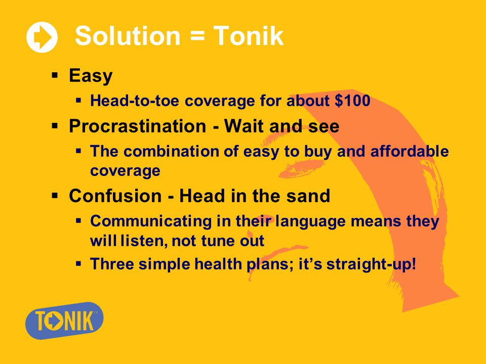 Solution = Tonik  Easy  Head-to-toe coverage for about $100  Procrastination - Wait and see  The combination of easy to buy and affordable coverage  Confusion - Head in the sand  Communicating in their language means they will listen, not tune out  Three simple health plans; it's straight-up!