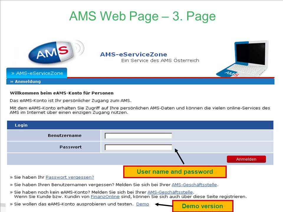 10 AMS Web Page – 3. Page User name and password Demo version