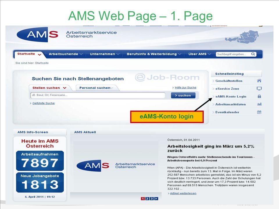 8 AMS Web Page – 1. Page eAMS-Konto login