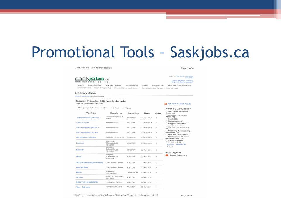 Promotional Tools – Saskjobs.ca