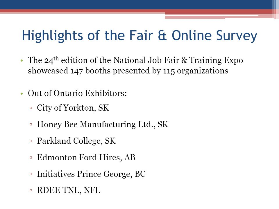 Highlights of the Fair & Online Survey The 24 th edition of the National Job Fair & Training Expo showcased 147 booths presented by 115 organizations Out of Ontario Exhibitors: ▫City of Yorkton, SK ▫Honey Bee Manufacturing Ltd., SK ▫Parkland College, SK ▫Edmonton Ford Hires, AB ▫Initiatives Prince George, BC ▫RDEE TNL, NFL