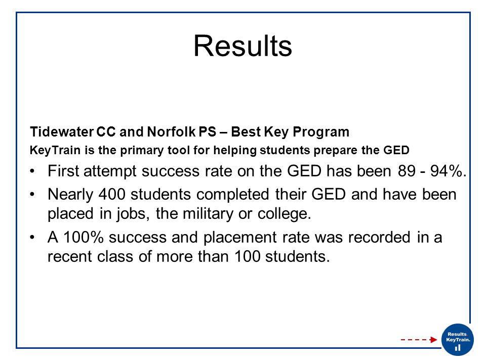 Results Tidewater CC and Norfolk PS – Best Key Program KeyTrain is the primary tool for helping students prepare the GED First attempt success rate on the GED has been 89 - 94%.