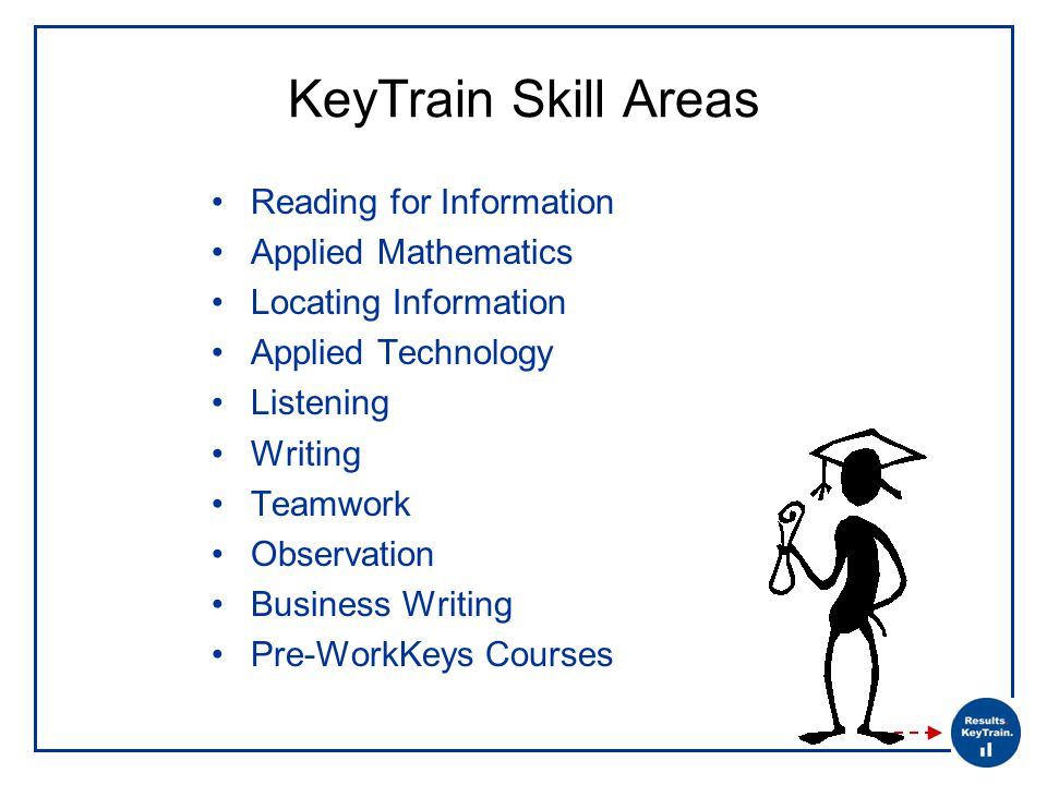 KeyTrain Skill Areas Reading for Information Applied Mathematics Locating Information Applied Technology Listening Writing Teamwork Observation Business Writing Pre-WorkKeys Courses