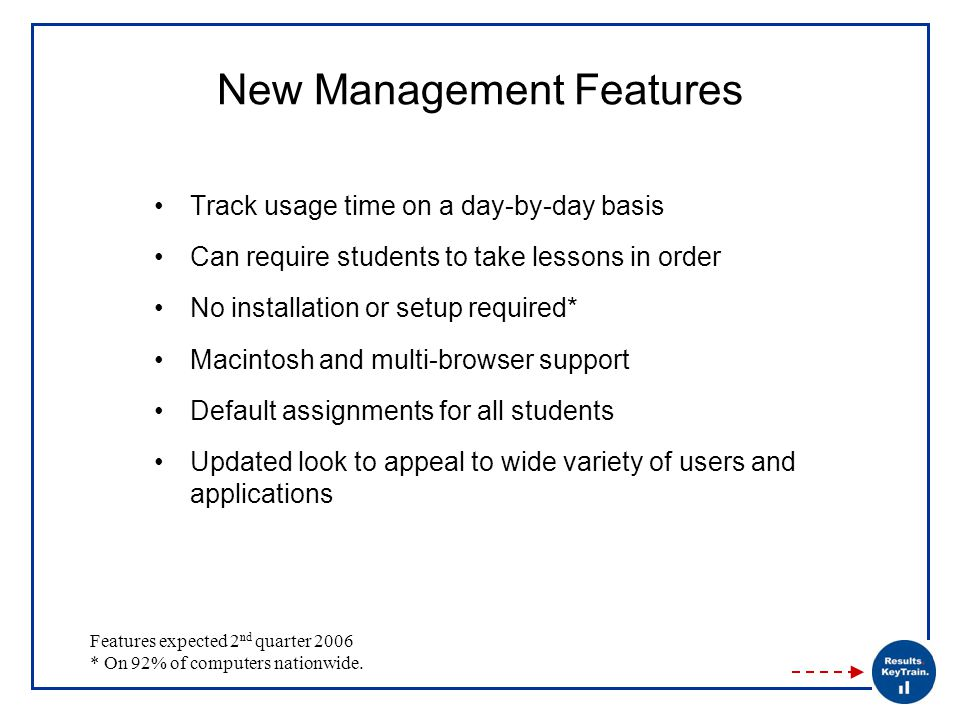 New Management Features Track usage time on a day-by-day basis Can require students to take lessons in order No installation or setup required* Macintosh and multi-browser support Default assignments for all students Updated look to appeal to wide variety of users and applications Features expected 2 nd quarter 2006 * On 92% of computers nationwide.