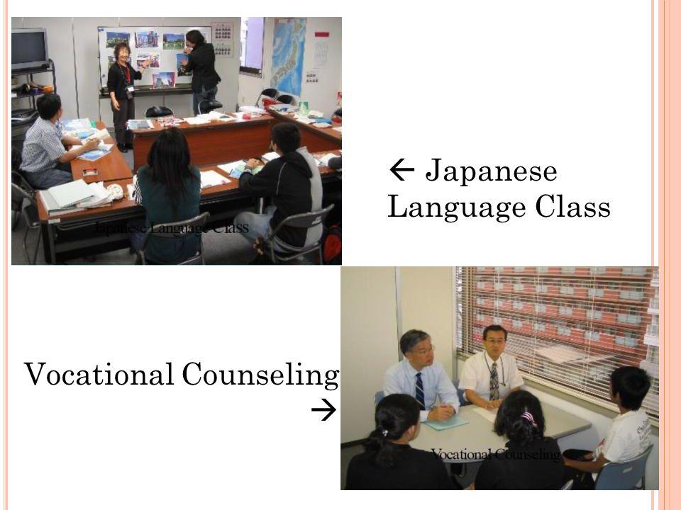 Settlement Support Program 1.Japanese Language Education (572 units: 1 unit = 45 minutes) 2.