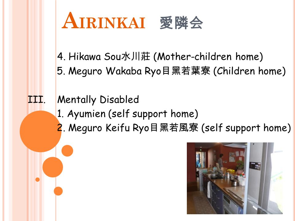 A IRINKAI 愛隣会 Services : I.Elderly 1. Komabaen 駒場苑 (special nursing home) 2.