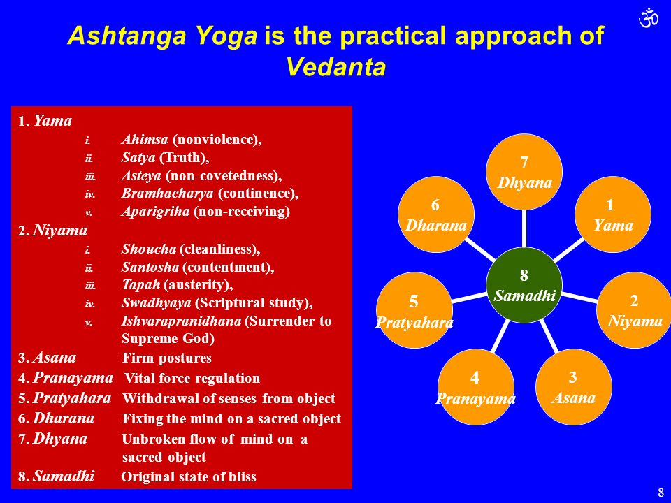  8 Ashtanga Yoga is the practical approach of Vedanta 1. Yama i. Ahimsa (nonviolence), ii. Satya (Truth), iii. Asteya (non-covetedness), iv. Bramhach