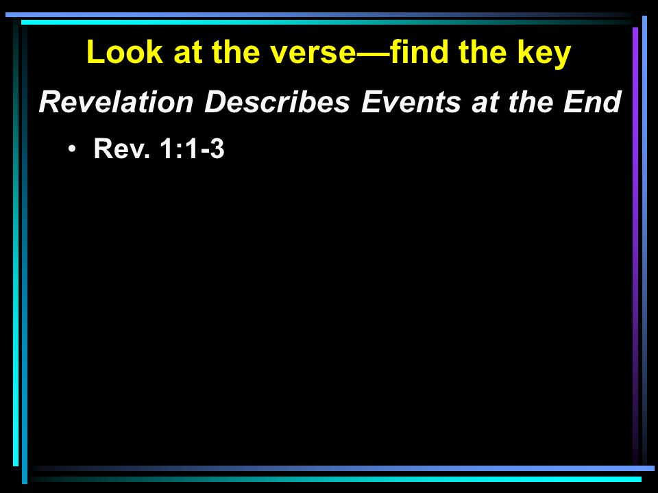 Look at the verse—find the key Revelation Describes Events at the End Rev. 1:1-3