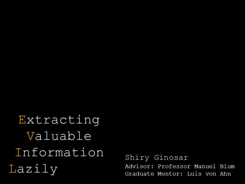 Extracting Valuable Information Lazily Shiry Ginosar Advisor: Professor Manuel Blum Graduate Mentor: Luis von Ahn