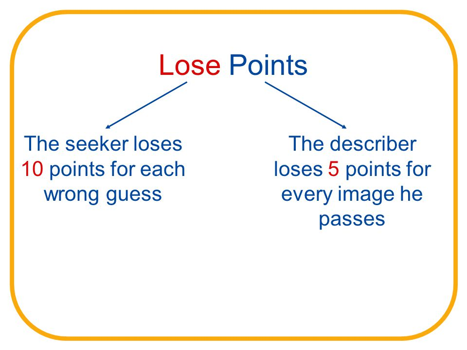 Lose Points The seeker loses 10 points for each wrong guess The describer loses 5 points for every image he passes