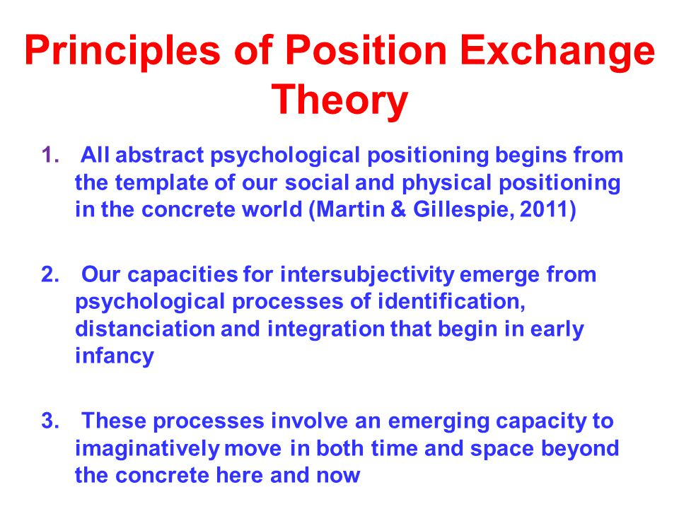 Principles of Position Exchange Theory 1.