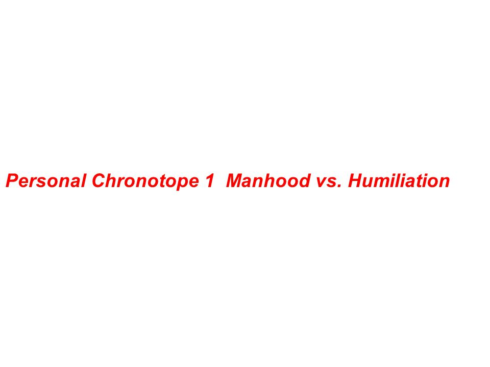 Personal Chronotope 1 Manhood vs. Humiliation