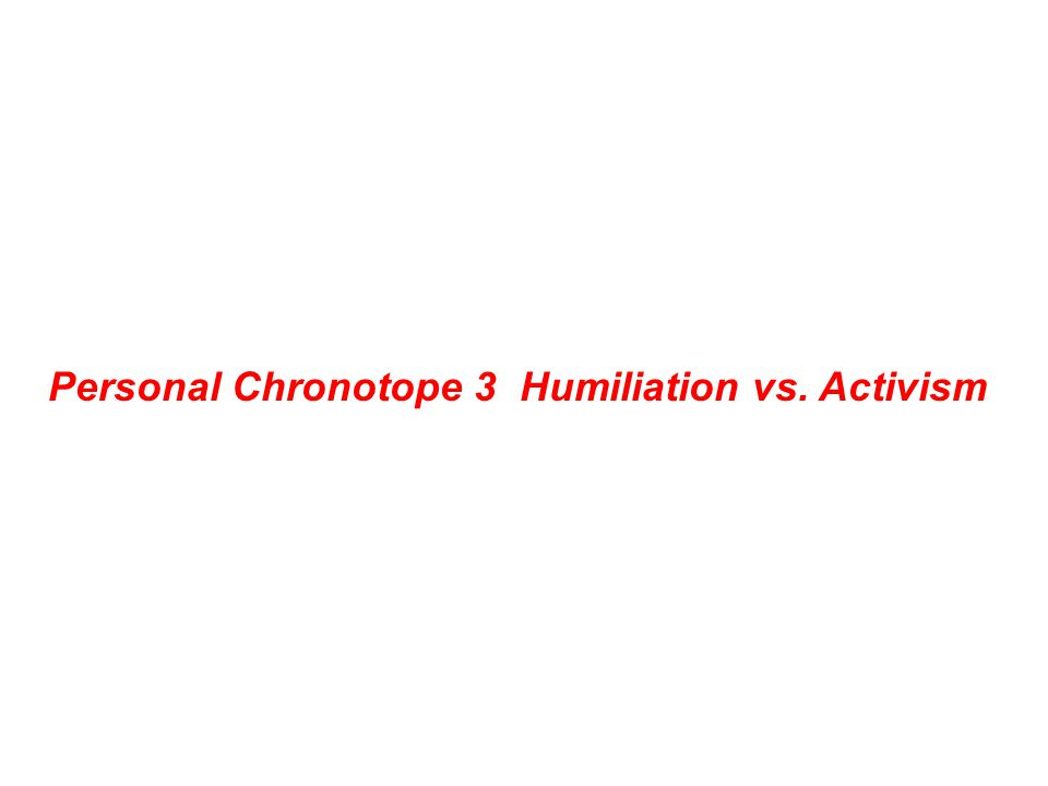 Personal Chronotope 3 Humiliation vs. Activism