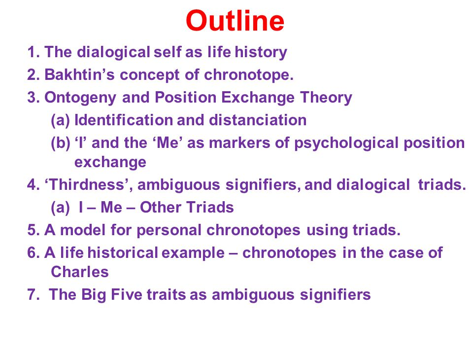 Outline 1. The dialogical self as life history 2.