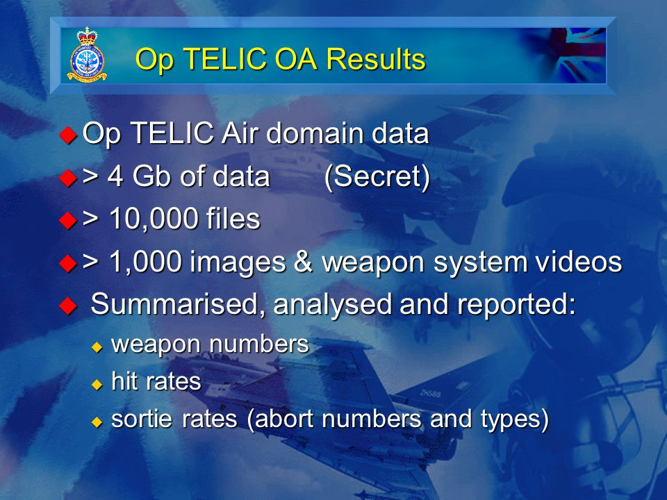 Op TELIC OA Results  Op TELIC Air domain data  > 4 Gb of data(Secret)  > 10,000 files  > 1,000 images & weapon system videos  Summarised, analysed and reported:  weapon numbers  hit rates  sortie rates (abort numbers and types)