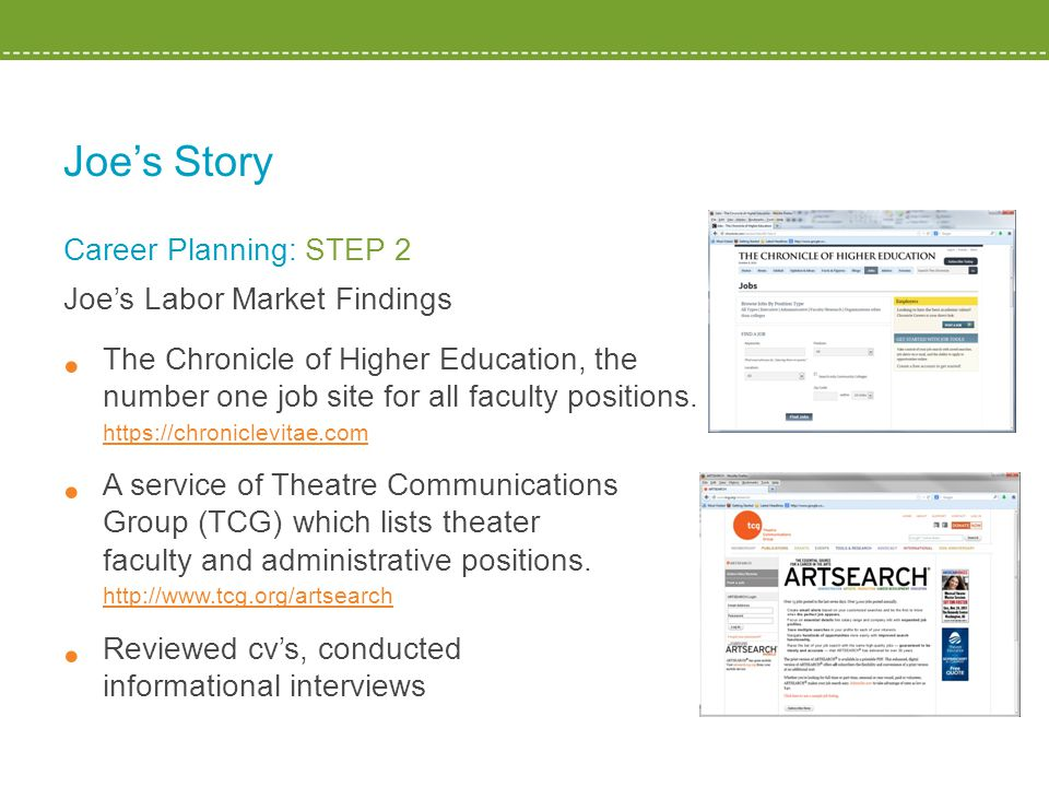 Joe's Story Career Planning: STEP 2 Joe's Labor Market Findings The Chronicle of Higher Education, the number one job site for all faculty positions.