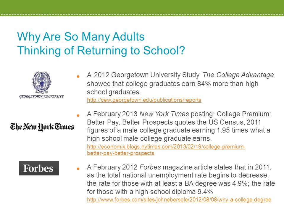 Why Are So Many Adults Thinking of Returning to School? A 2012 Georgetown University Study The College Advantage showed that college graduates earn 84