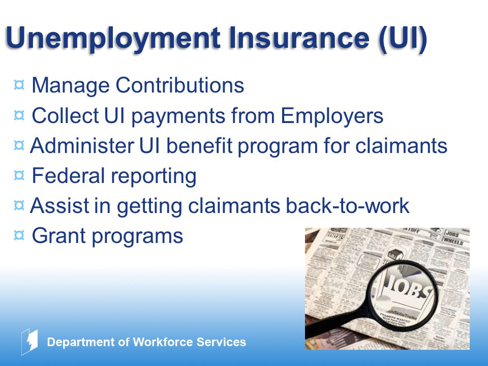www.company.com Unemployment Insurance (UI) ¤ Manage Contributions ¤ Collect UI payments from Employers ¤ Administer UI benefit program for claimants ¤ Federal reporting ¤ Assist in getting claimants back-to-work ¤ Grant programs