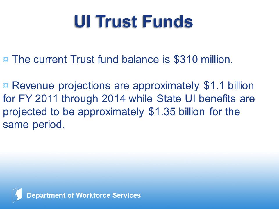 www.company.com UI Trust Funds ¤ The current Trust fund balance is $310 million.