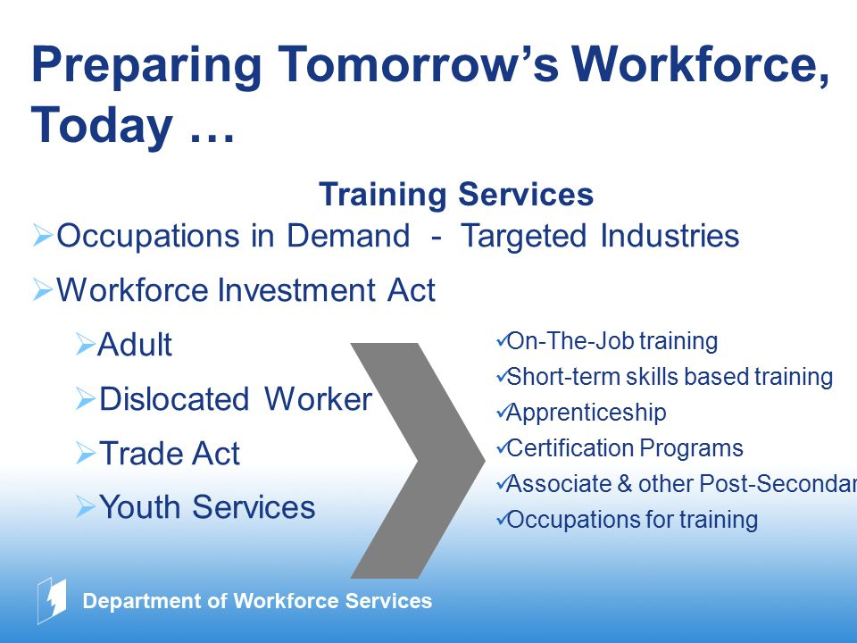 www.company.com Preparing Tomorrow's Workforce, Today … Training Services  Occupations in Demand - Targeted Industries  Workforce Investment Act  Adult  Dislocated Worker  Trade Act  Youth Services On-The-Job training Short-term skills based training Apprenticeship Certification Programs Associate & other Post-Secondary Occupations for training