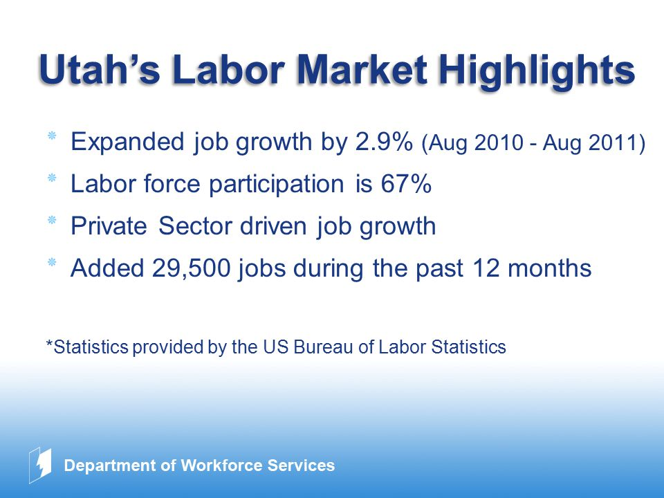 www.company.com Utah's Labor Market Highlights ٭Expanded job growth by 2.9% (Aug 2010 - Aug 2011) ٭Labor force participation is 67% ٭Private Sector driven job growth ٭Added 29,500 jobs during the past 12 months *Statistics provided by the US Bureau of Labor Statistics
