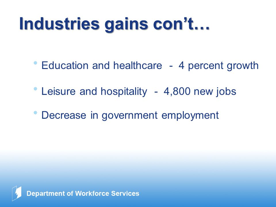 www.company.com Industries gains con't… ٭ Education and healthcare - 4 percent growth ٭ Leisure and hospitality - 4,800 new jobs ٭ Decrease in government employment