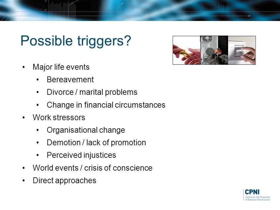 Possible triggers? Major life events Bereavement Divorce / marital problems Change in financial circumstances Work stressors Organisational change Dem