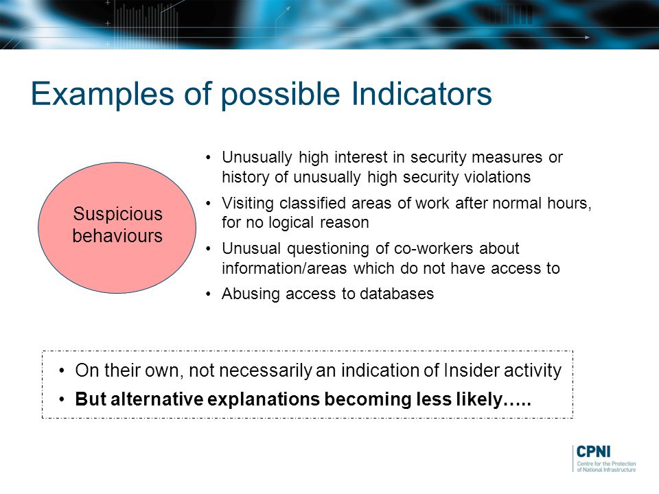 Suspicious behaviours Unusually high interest in security measures or history of unusually high security violations Visiting classified areas of work after normal hours, for no logical reason Unusual questioning of co-workers about information/areas which do not have access to Abusing access to databases On their own, not necessarily an indication of Insider activity But alternative explanations becoming less likely…..