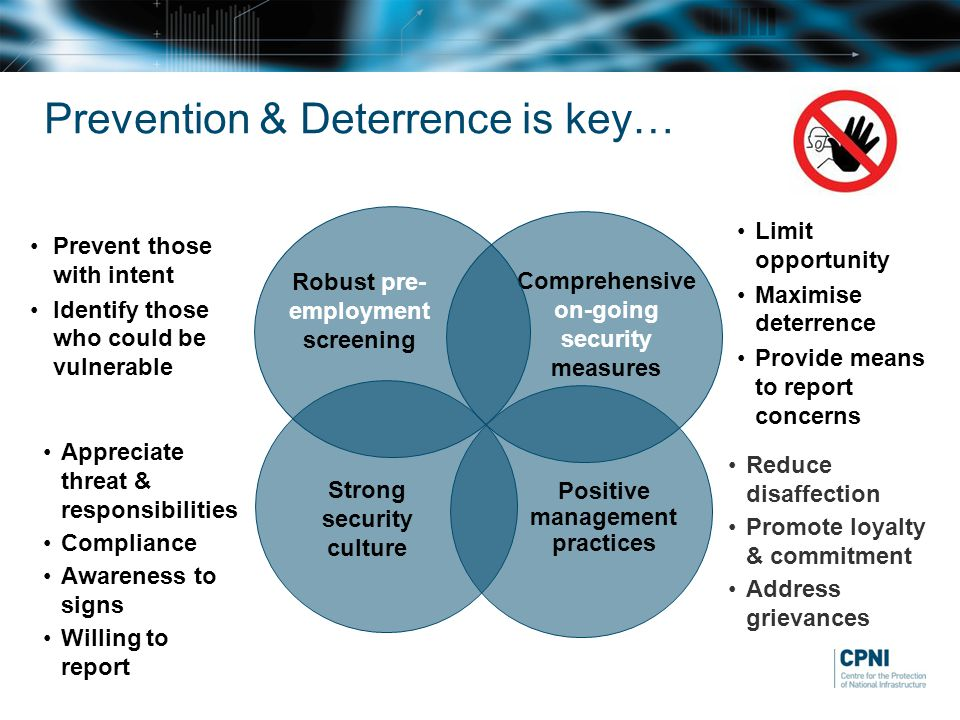 Prevention & Deterrence is key… Comprehensive on-going security measures Limit opportunity Maximise deterrence Provide means to report concerns Positive management practices Reduce disaffection Promote loyalty & commitment Address grievances Strong security culture Appreciate threat & responsibilities Compliance Awareness to signs Willing to report Robust pre- employment screening Prevent those with intent Identify those who could be vulnerable