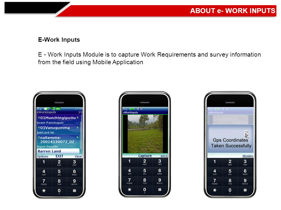 E-Work Inputs E - Work Inputs Module is to capture Work Requirements and survey information from the field using Mobile Application ABOUT e- WORK INPUTS