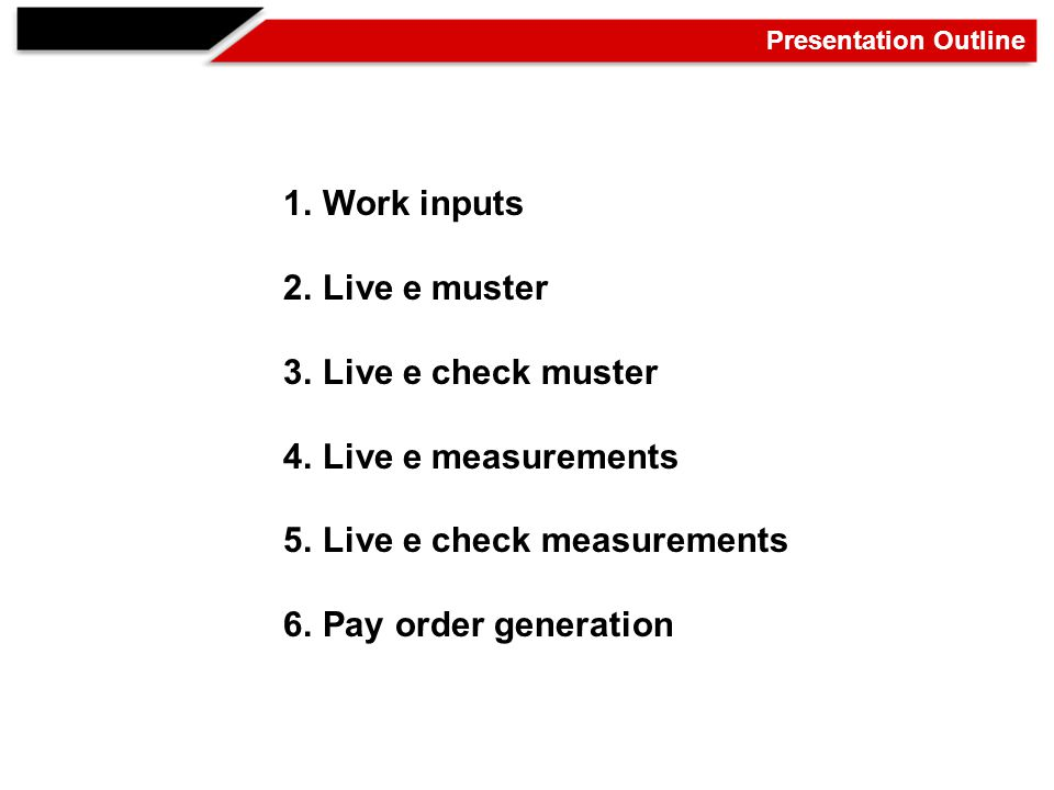 Presentation Outline 1.Work inputs 2.Live e muster 3.Live e check muster 4.Live e measurements 5.Live e check measurements 6.Pay order generation