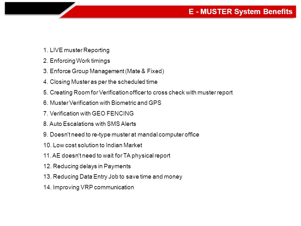 1. LIVE muster Reporting 2. Enforcing Work timings 3.