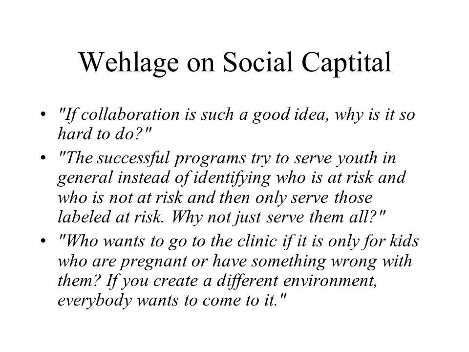 Wehlage on Social Captital