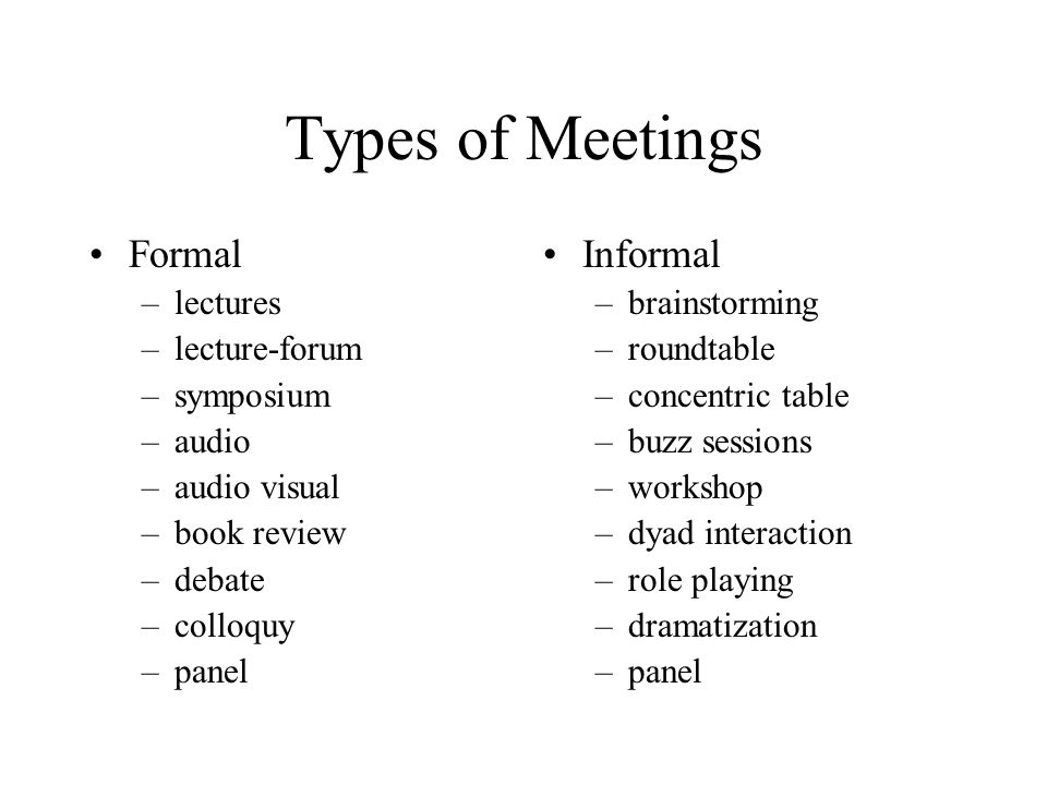 Types of Meetings Formal –lectures –lecture-forum –symposium –audio –audio visual –book review –debate –colloquy –panel Informal –brainstorming –roundtable –concentric table –buzz sessions –workshop –dyad interaction –role playing –dramatization –panel