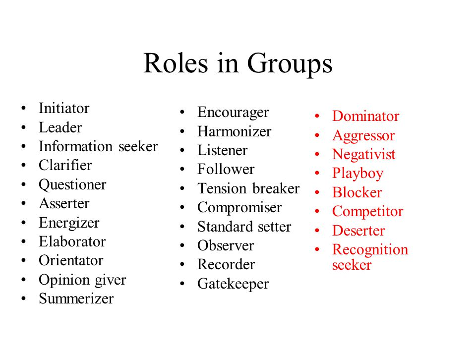 Roles in Groups Initiator Leader Information seeker Clarifier Questioner Asserter Energizer Elaborator Orientator Opinion giver Summerizer Encourager