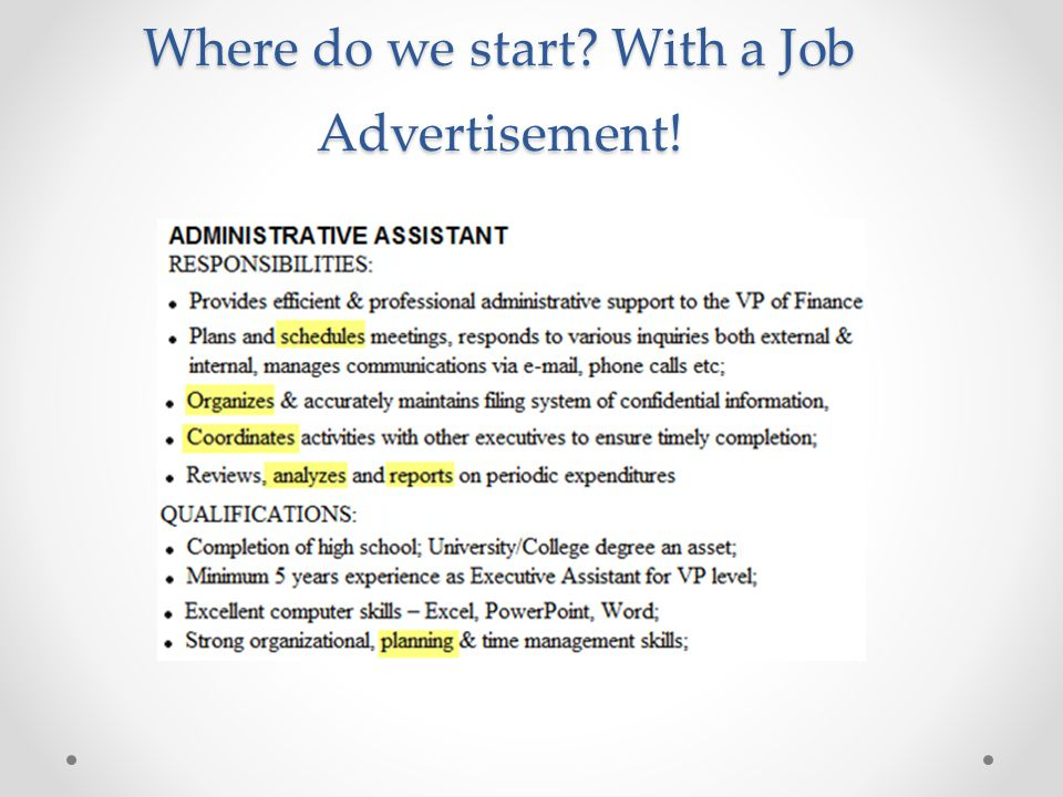 Where do we start? With a Job Advertisement!