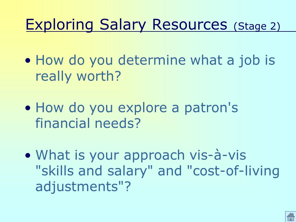 Exploring Salary Resources (Stage 2) How do you determine what a job is really worth.