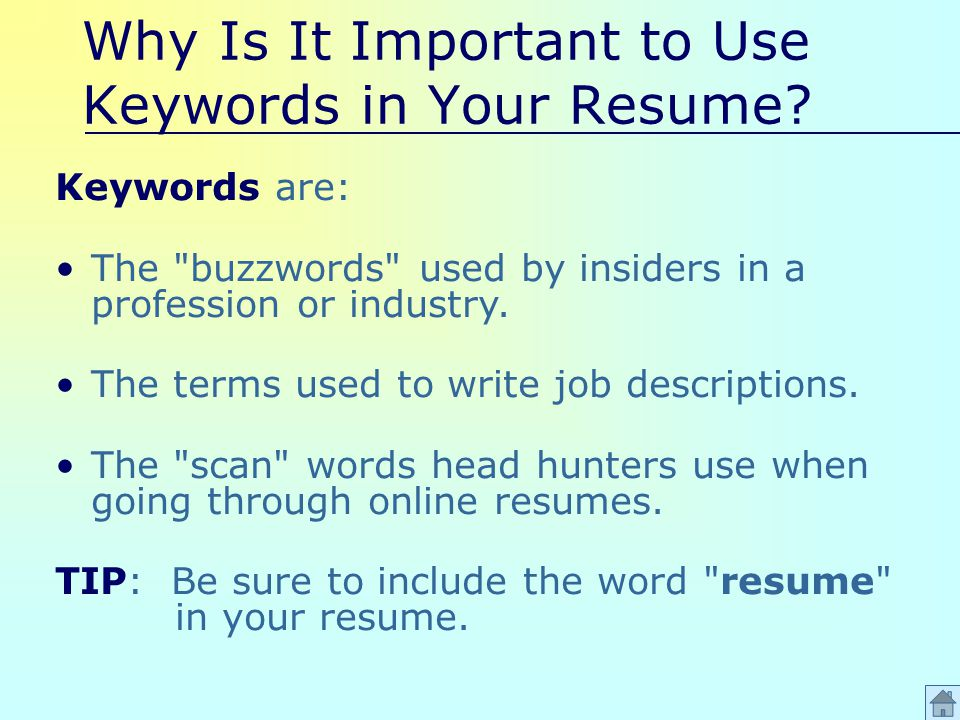 Why Is It Important to Use Keywords in Your Resume.