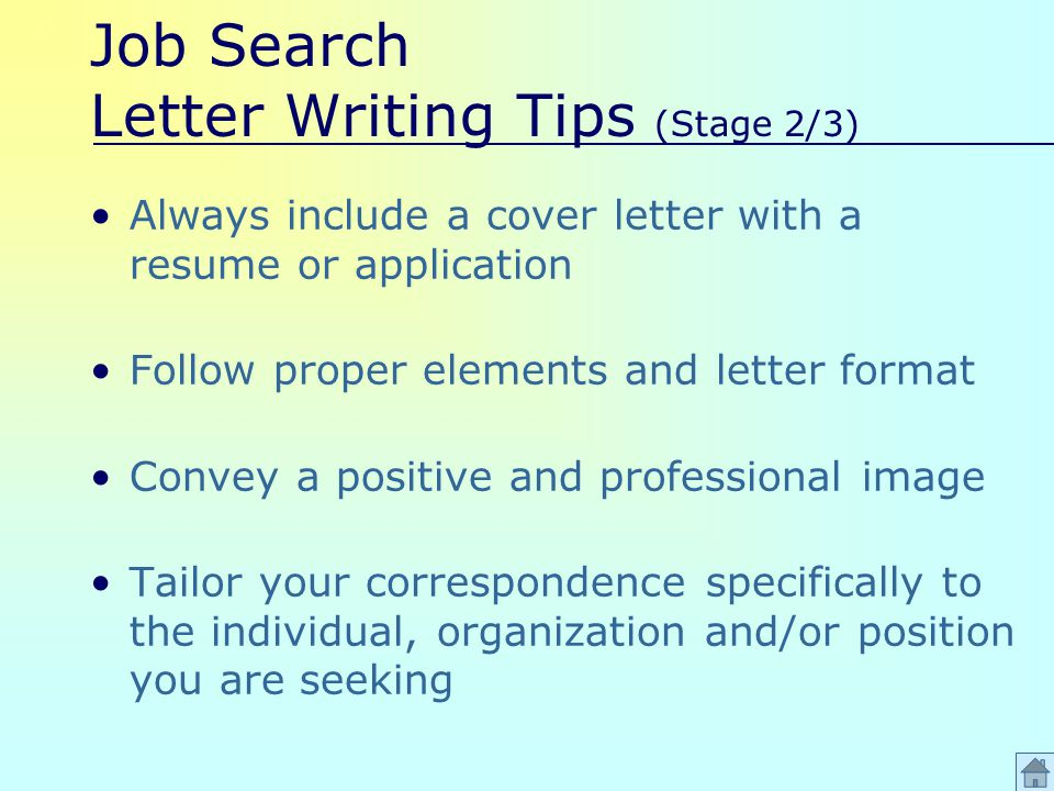 Job Search Letter Writing Tips (Stage 2/3) Always include a cover letter with a resume or application Follow proper elements and letter format Convey a positive and professional image Tailor your correspondence specifically to the individual, organization and/or position you are seeking