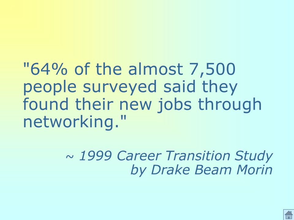 64% of the almost 7,500 people surveyed said they found their new jobs through networking. ~ 1999 Career Transition Study by Drake Beam Morin